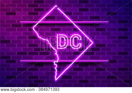 District Of Columbia Or Washington Dc Glowing Neon Lamp Sign. Realistic Vector Illustration. Purple