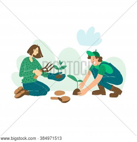 People Are Planting Plants, Gardening. Set Of Vector Flat Hand Drawn Illustrations Of People Doing G
