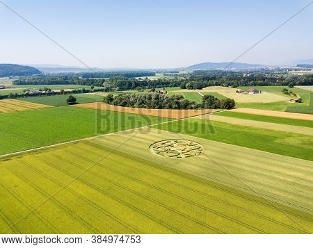 Crop Circle In Wheat Field In Canton Bern, Switzerland