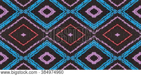Seamless Rhombus Pattern. Drawn In Bold Stripes Shapes. Red Geometric African Design. Diamond Patter