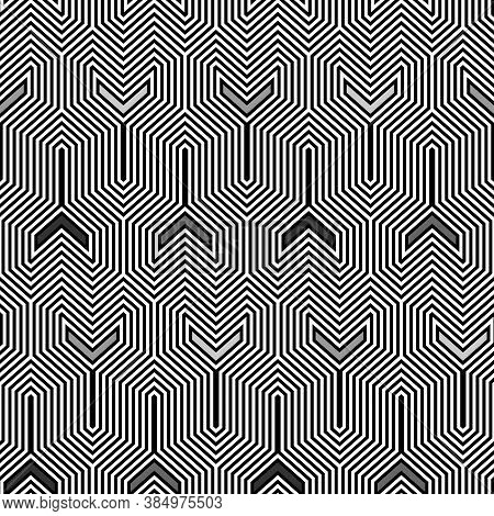 Interlocking Three Pronged Blocks. Repeated Black Puzzles On White Background.. Seamless Surface Pat