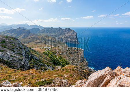 Tramuntana Mountains (serra De Tramuntana) In West Of Mallorca Seen From Formentor Cape, Balearic Is
