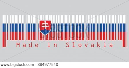 Barcode Set The Color Of Slovak Flag, White Blue And Red; Charged With A Shield Containing A White C