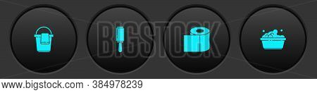 Set Bucket With Rag, Adhesive Roller, Toilet Paper And Plastic Basin Soap Suds Icon. Vector