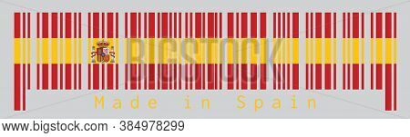 Barcode Set The Color Of Spanish Flag, A Horizontal Of Red Yellow And Red; Charged With The Spanish