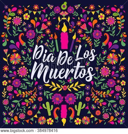 Dias De Los Muertos Typography Banner Vector. In English Translate - Feast Of Death. Mexico Design F