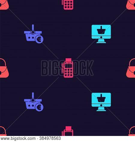 Set Monitor With Shopping Basket, Shopping And Euro, Pos Terminal Credit Card And Handbag On Seamles
