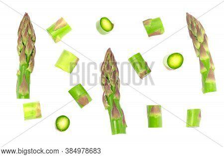 Set Fresh Asparagus Slices Isolated On White Background