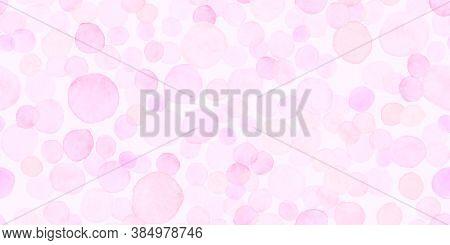 Pastel Seamless Girly Wrapping. Decorative Romantic Pattern. Empty Circular Card. Fashion Polka Spot