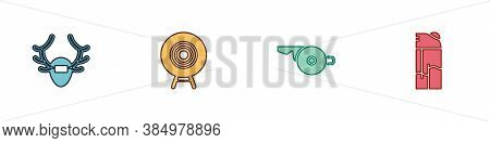 Set Deer Antlers On Shield, Target Sport, Whistle And Lighter Icon. Vector