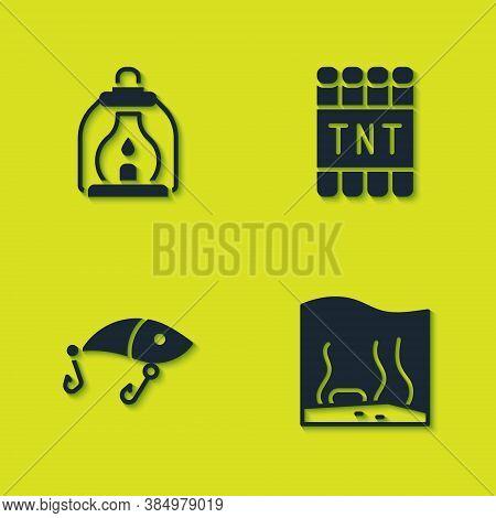 Set Camping Lantern, Aquarium, Fishing Lure And Detonate Dynamite Bomb Stick Icon. Vector