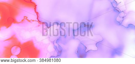 Gradient Smooth Background. Blur Art. Alcohol Ink Design. Purple Abstract Liquid Stains. Girlish Gra