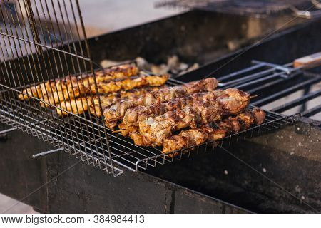 Grilled Barbecue Kebab Street Food Meat Outside Charcoal Heat Flame