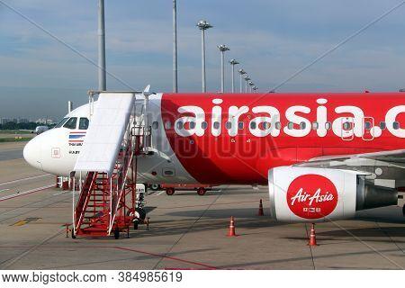 Don Muang, Bangkok, Thailand, June 6, 2018 : Header Section Of The Plane Of Thai Airasia, Airbus A32