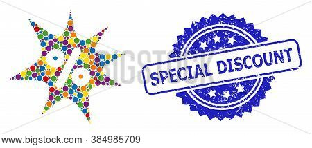 Multicolored Mosaic Discount Boom, And Special Discount Rubber Rosette Stamp Seal. Blue Stamp Seal I