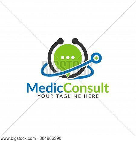 Medical Consulting Logo Design Template. Medical Online Logo Vector For Healthcare.