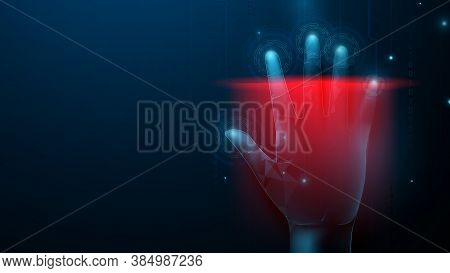 Hand Print Security Through Human Fingerprints. Safety Cyber Security Technology Concept. Abstract H