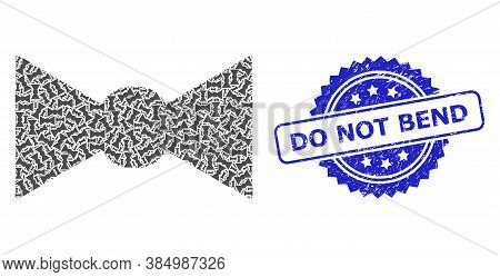 Do Not Bend Unclean Stamp And Vector Fractal Mosaic Bow Tie. Blue Stamp Has Do Not Bend Tag Inside R