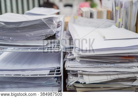 Stack Of Paper Documents Rack Files On Wireframe Filing Tray, Information Of Finance On High Work De