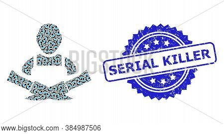 Serial Killer Dirty Stamp And Vector Recursive Composition Butcher. Blue Stamp Contains Serial Kille
