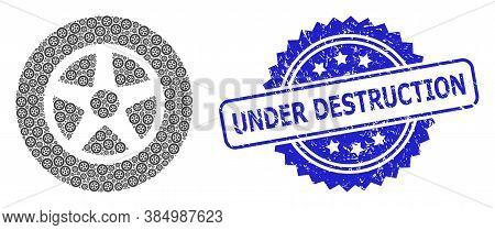Under Destruction Dirty Stamp And Vector Fractal Mosaic Car Wheel. Blue Stamp Seal Includes Under De