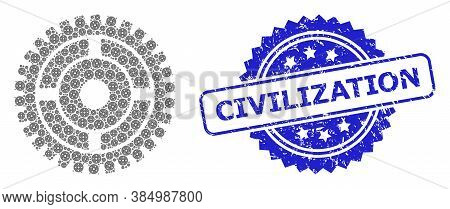 Civilization Rubber Stamp Seal And Vector Recursion Composition Clock Wheel. Blue Stamp Seal Contain