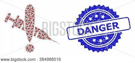 Danger Grunge Seal Print And Vector Fractal Mosaic Danger Vaccine. Blue Stamp Seal Has Danger Text I