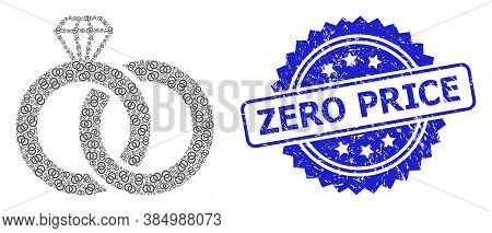 Zero Price Scratched Stamp Seal And Vector Recursive Mosaic Diamond Wedding Rings. Blue Seal Include