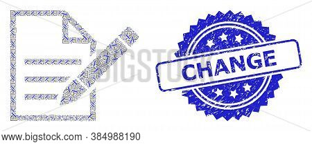 Change Rubber Seal And Vector Recursive Collage Edit Text Page. Blue Stamp Seal Contains Change Text