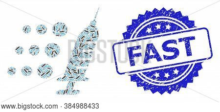 Fast Scratched Seal Imitation And Vector Fractal Mosaic Fast Vaccine. Blue Stamp Seal Has Fast Text