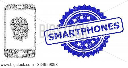Smartphones Grunge Seal And Vector Fractal Collage Cellphone Profile. Blue Stamp Seal Has Smartphone