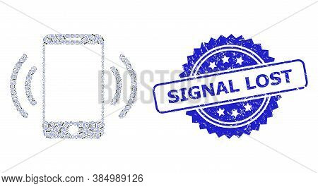 Signal Lost Unclean Stamp Seal And Vector Fractal Composition Cellphone Vibration. Blue Stamp Seal C