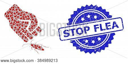 Stop Flea Dirty Stamp Seal And Vector Recursive Collage Cockroach Punch. Blue Stamp Seal Has Stop Fl