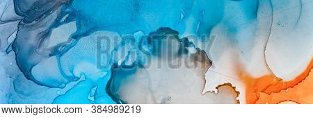 Sea Abstract Art. Underwater Illustration. Teal Watercolour Landscape. Contemporary Wave Paint. Pigm