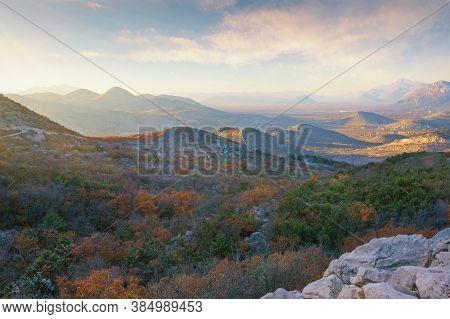 Beautiful Autumn Mountain Landscape. Hills And Valleys At Sunset. Bosnia And Herzegovina, Republika