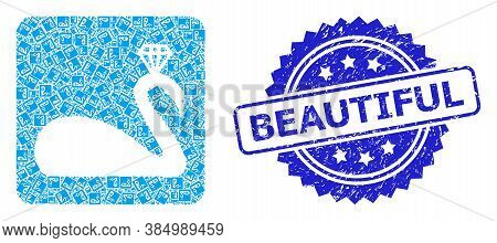 Beautiful Grunge Seal Imitation And Vector Recursive Mosaic Crowned Swan. Blue Stamp Seal Contains B