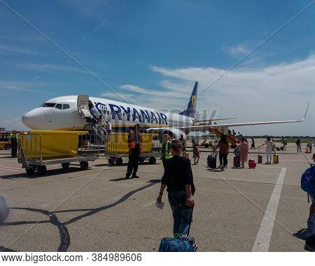 Bratislava, Slovakia - Circa July 2018: Ryanair Boeing 737-800 During Boarding