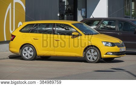 Brno, Czech Republic - Circa May 2017: Yellow Skoda Octavia Station Wagon Car