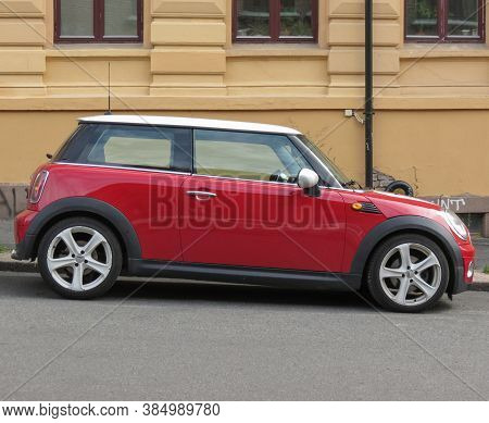 Oslo, Norway - Circa August 2017: Red Mini Cooper Car With White Roof