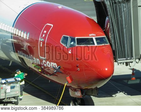 Oslo, Norway - Circa August 2017: Norwegian Airbus A320 Parked At The Airport