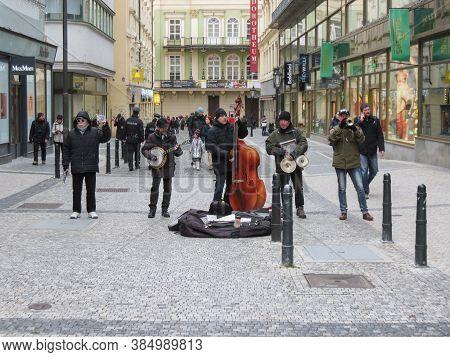 Prague, Czech Republic - Circa December 2017: Unidentified Street Musicians In Prague