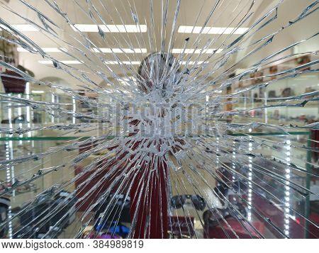 Prague, Czech Republic - Circa December 2017: Broken Glass Window Useful As A Background