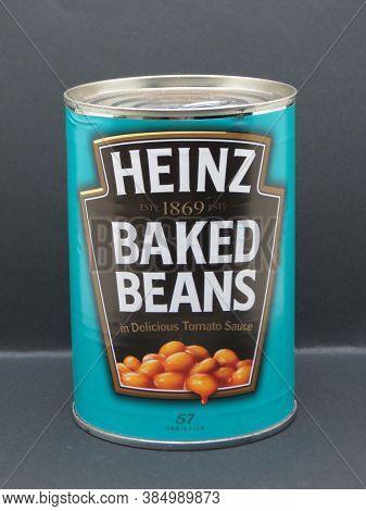 London, Uk - Circa September 2018: Heinz Baked Beans In Delicious Tomato Sauce