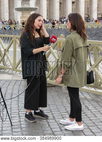 Vatican City, Rome, Vatican City State - Circa October 2018: Bbc Troupe Interviewing People In St Pe