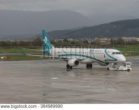 Florence, Italy - Circa November 2019: Airdolomiti Embraer Erj-195lr During Taxi At Peretola Airport