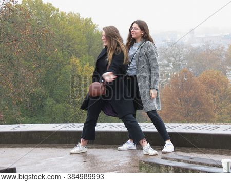 London, Uk - Circa November 2019: Girlfriends Posing For A Picture On Primrose Hill North Of Regent'