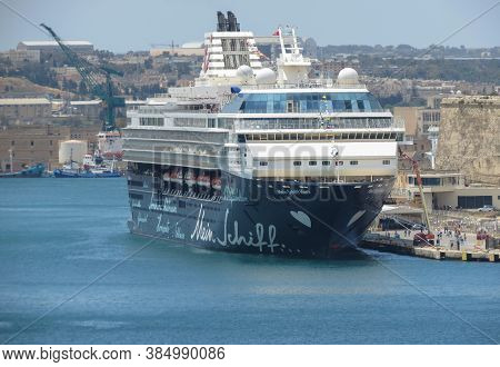 Valletta, Malta - Circa May 2019: Mein Schiff Herz Cruise Ship Operated By Tui Cruises Moored At Val