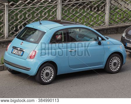 Milan, Italy - Circa August 2015: Light Blue New Fiat 500 (2010s Version) Parked On A Street