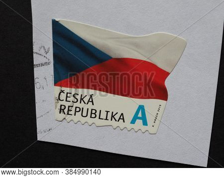 Prague, Czech Republic - Circa August 2018: A Stamp Printed By Czech Republic Showing The Flag Of Th