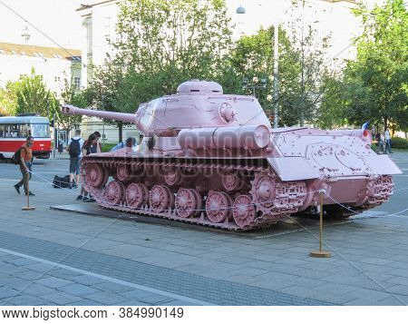 Brno, Czech Republic - Circa May 2017: Pink Tank, Controversial Piece Released In 1991 By Czech Arti